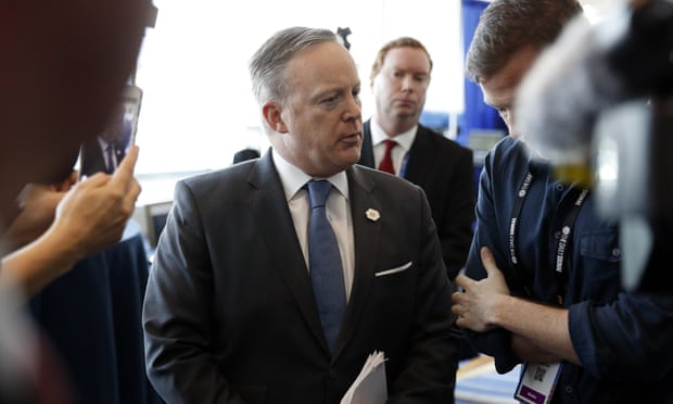 The Q&A session took place off camera before only an 'expanded pool' of journalists in Sean Spicer's West Wing office. Photograph: Alex Brandon/Associated Press