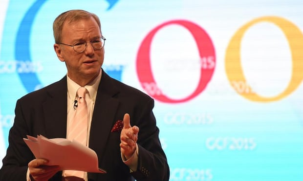Google's executive chairman, Eric Schmidt. Photograph: Fayez Nureldine/AFP/Getty Images