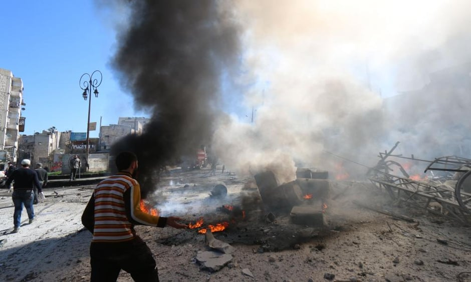 A reported barrel bomb attack by Syrian government forces in Aleppo this week.