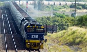 A coal train departs Newcastle Port, in Newcastle, Australia