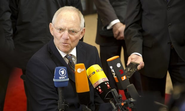 German Finance Minister Wolfgang Schaeuble arrives for a meeting of eurogroup finance ministers in Brussels on Friday, Feb. 20, 2015.
