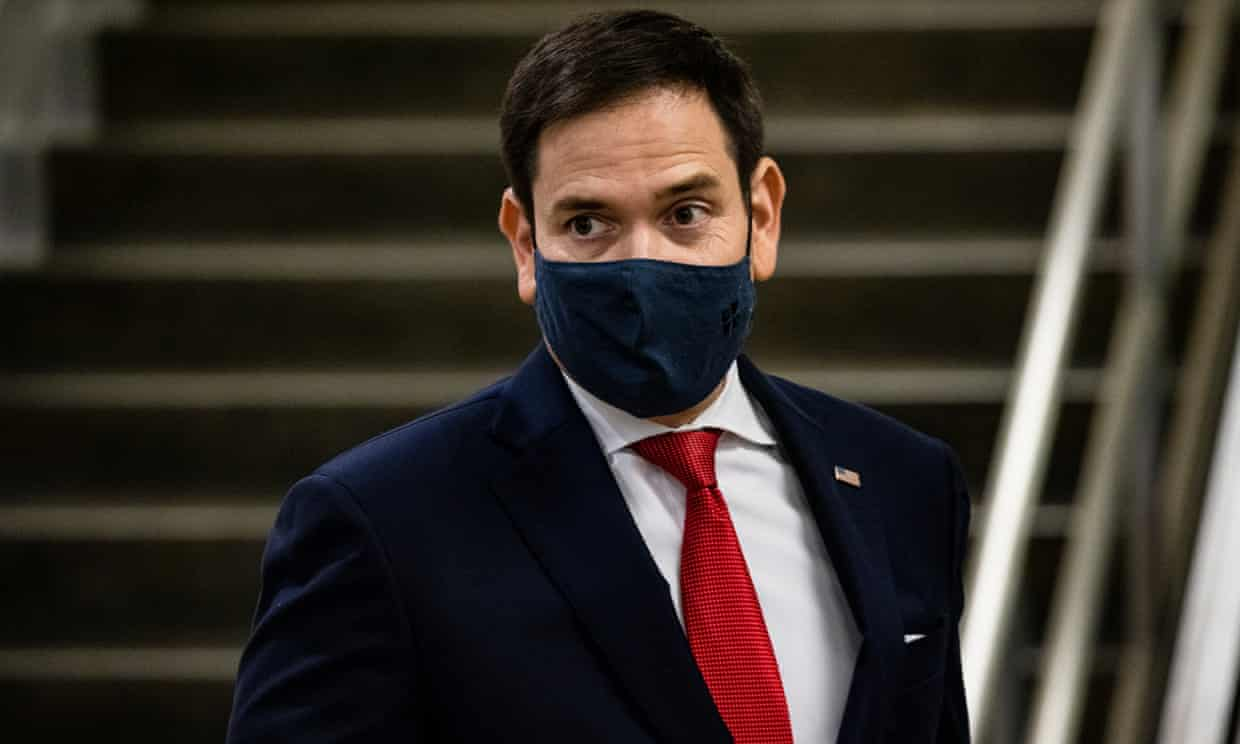 Senator Marco Rubio of Florida, is among those named in Carl Bernstein's list who have expressed disdain for Trump Photograph: Samuel Corum/Getty Images