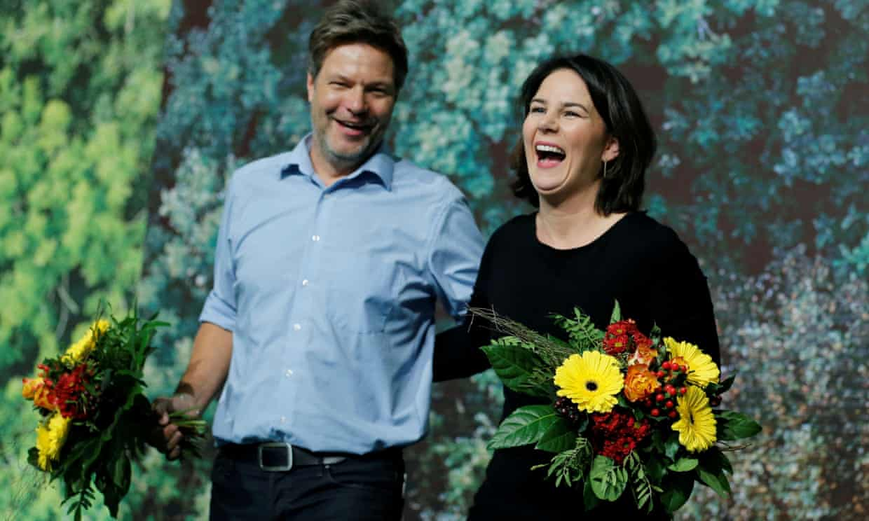 Germany's Green party co-leaders, Robert Habeck and Annalena Baerbock, in 2019. Photograph: Leon Kuegeler/Reuters