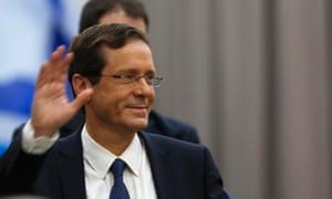 Isaac Herzog attends an election campaign event as polls suggest his Zionist Union party leads by three or four parliamentary seats.