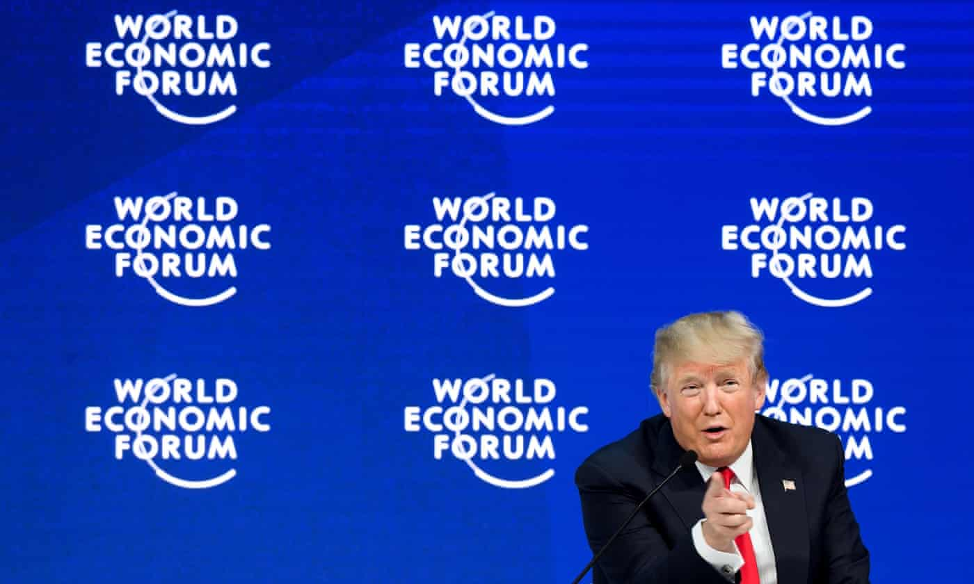'Trump plans to speak at Davos, by the way. He'll probably boast about the stock market, bully and lie, as usual.' Photograph: Fabrice Coffrini/AFP via Getty Images