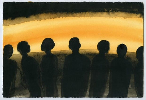 Antony Gormley, EVENING, 2003, Carbon, casein and indian ink on paper, 19 x 28cm, © the artist.