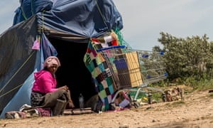 A woman in the new 'Jungle' camp in Calais.