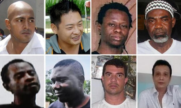 The eight people who were executed in Indonesia on 29 April 2015. Top row from left (including two of the Bali Nine): Australians Myuran Sukumaran and Andrew Chan, Nigerian Okwuduli Oyatanze and Nigerian Martin Anderson. Bottom row from left: Nigerians Raheem Agbaje Salami, Silvester Obiekwe Nwolise, Brazilian Rodrigo Gularte, Zainal Abidin. Two others (not pictured) who were scheduled to be executed were given a temporary reprieve.