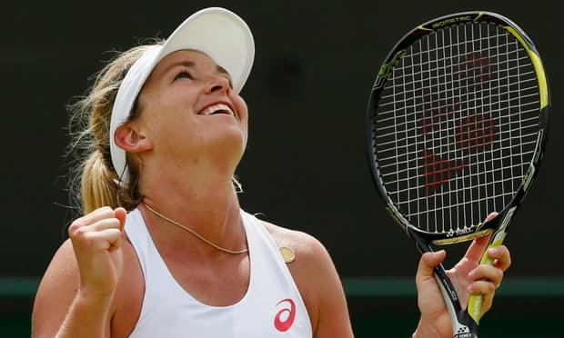 Coco Vandeweghe celebrates after winning her match against Lucie Safarova.
