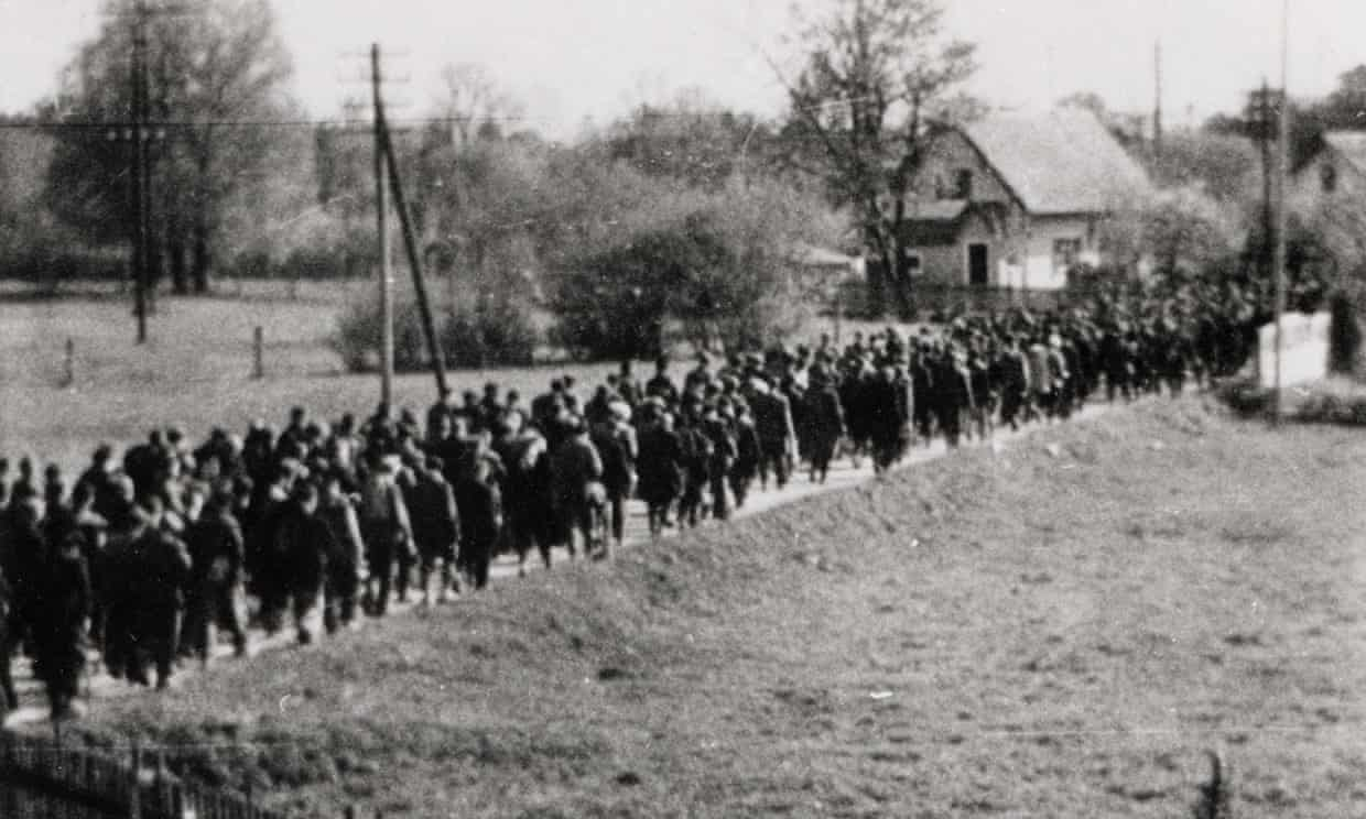 A clandestine image of a forced march from a Nazi camp at the end of the second world war. Photograph: US Holocaust Memorial Museum