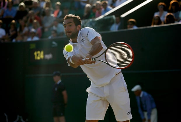 Marin Cilic hits a return against Denis Kudla. Cilic leads two sets to one against the last American man standing.