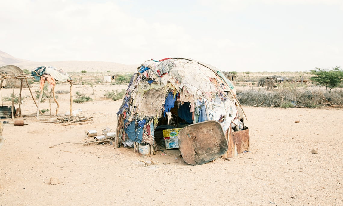 A flimsy makeshift home belonging to one of the displaced people living outside Gargara, a village in Somaliland. (Photograph: Felicity McCabe)