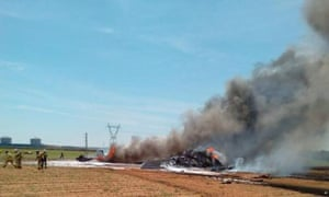 Wreckage of an Airbus A400 military plane which crashed in  Seville