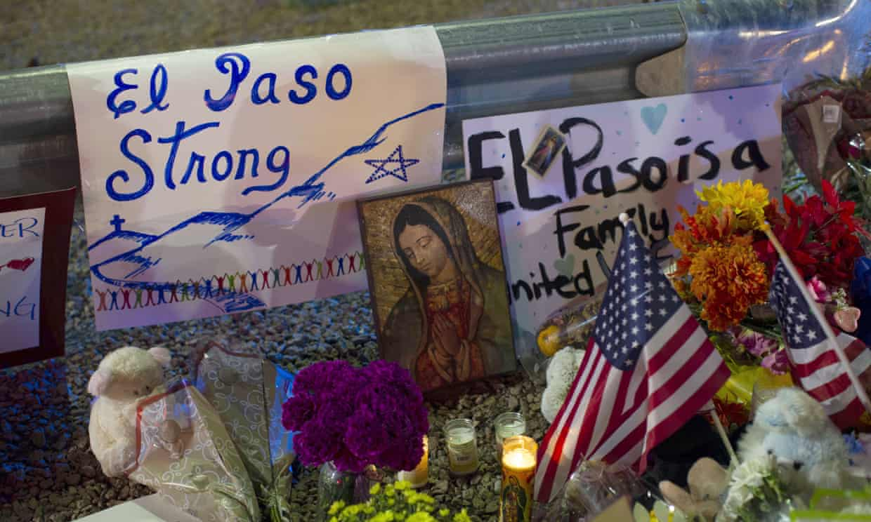 A makeshift memorial for the victims of the mass shooting at a Walmart in El Paso, Texas. Photograph: Andres Leighton/AP