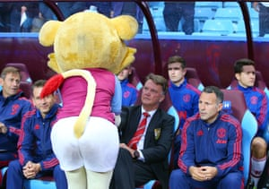 Nothing to say about Rooney, but here's a great shot of Louis van Gaal meeting Hercules Lion, the Aston Villa mascot.