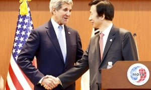 US secretary of state John Kerry shakes hands with South Korean foreign minister Yun Byung-Se on Monday.