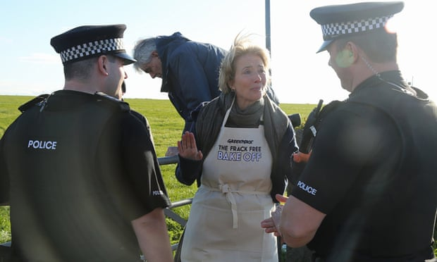 'I've been aware of this issue for a while with my work with Greenpeace' ... Emma Thompson during a peaceful protest this week. Photograph: John Cobb/Greenpeace/PA