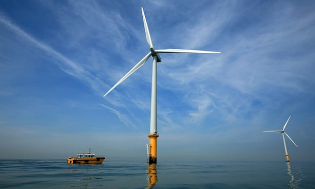 Dong Energy's Mersey windfarm, Burbo Bank, which can generate up to 90MW of electricity. Photograph: Christopher Furlong/Getty Images