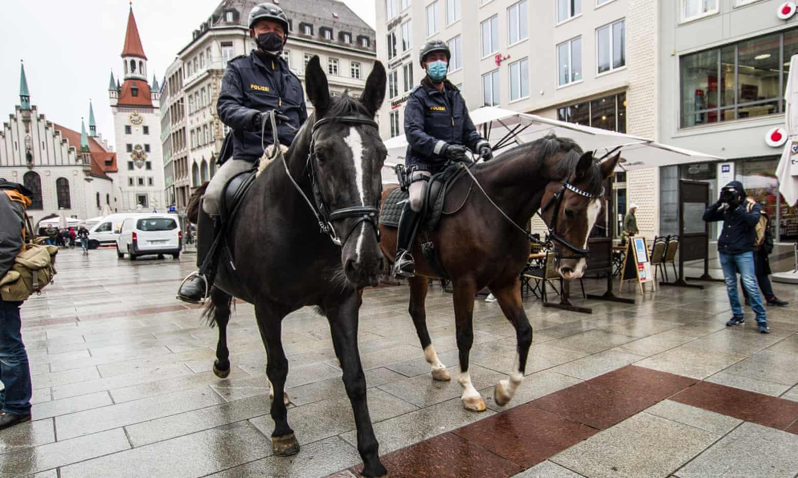 Mounted police patrol Marienplatz and the pedestrian zone in Munich, Bavaria. Photograph: Sachelle Babbar/ZUMA Wire/REX/Shutterstock