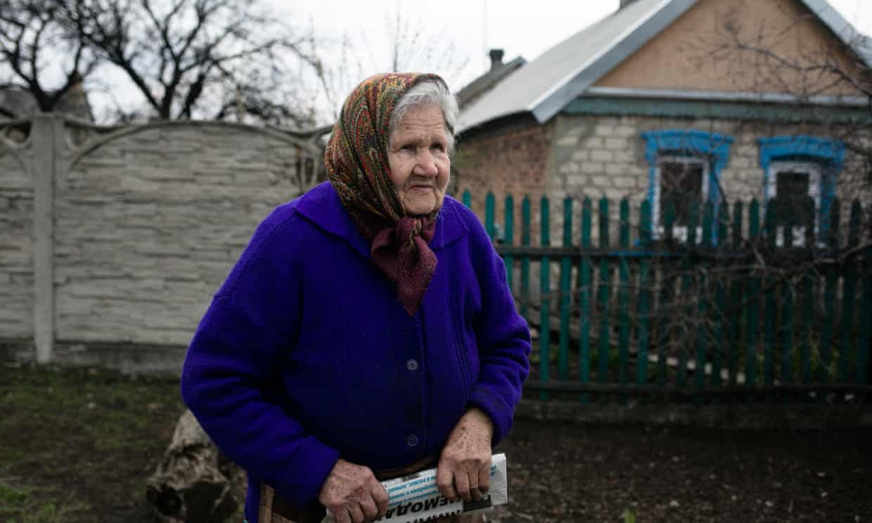 Vera Basova at her home in Marinka. She has survived the second world war and eight years of fighting between Ukrainian forces and pro-Russia separatists. Photograph: Anastasia Vlasova/The Guardian