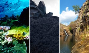Composite image of the reef, coal and Kakadu