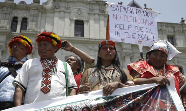 Anti-oil protesters in Peru.