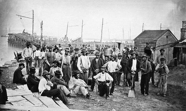 African American fugitive slaves provide support to the Union war effort, circa 1863.