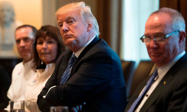 President Donald Trump's advisers have been doing the rounds trying to secure enough Republican support to change Barack Obama's healthcare law. Photograph: Jim Watson/AFP/Getty Images