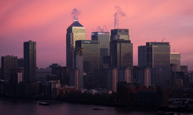 Canary Wharf at sunrise. London's fall was part of a global rout that began in Tokyo. Photograph: Guy Corbishley/Demotix/Corbis