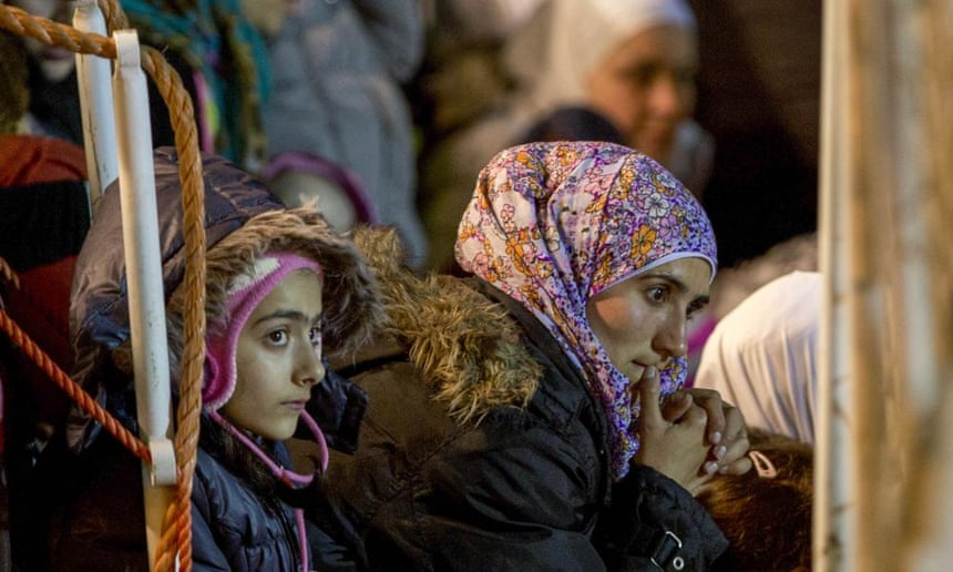 Female migrants who were rescued off the coast of Italy.