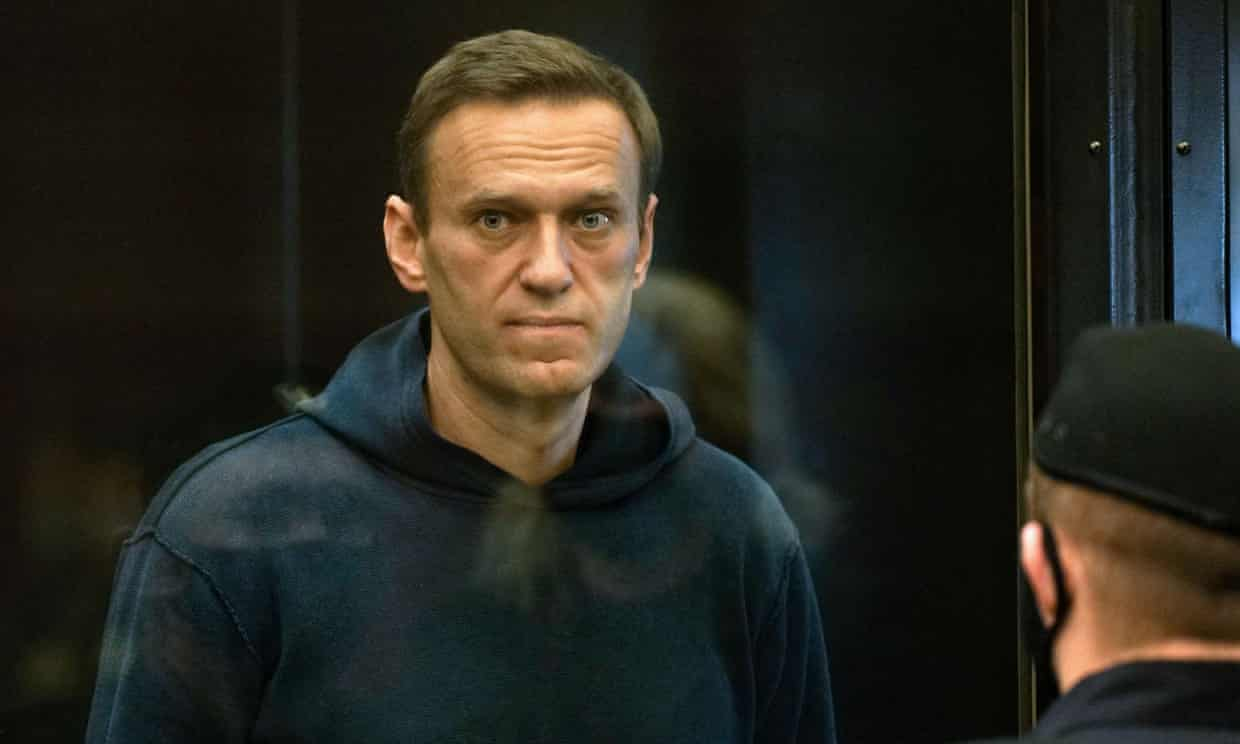 Alexei Navalny during a court hearing in Moscow in February. Photograph: Moscow City Court press service/AFP/Getty Images