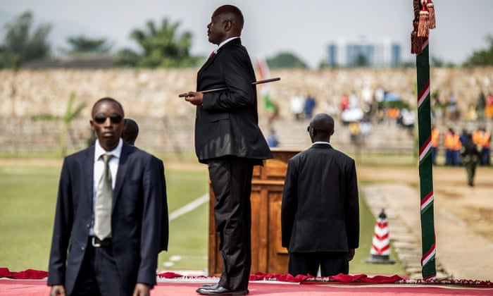 Burundi's president, Pierre Nkurunziza, at independence celebrations in Bujumbura on Wednesday