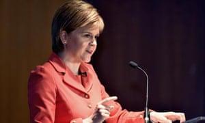 Nicola Sturgeon speaking in Edinburgh on Tuesday.