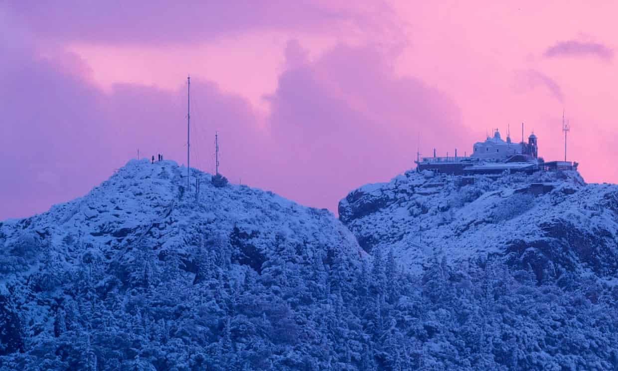 The hill of Lycabettus after rare heavy snowfall in Athens, Greece, this month. Further weakening of the AMOC could lead to more intense winters across Europe. Photograph: Angelos Tzortzinis/AFP/Getty