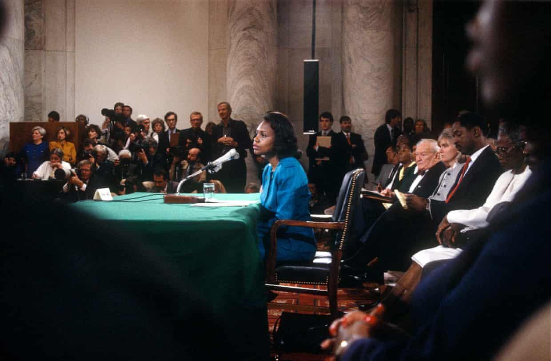 Anita Hill testifying in 1991. Photograph: Peter Heimsath/Rex/Shutterstock