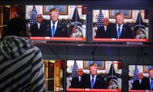 Trump's speech on TV in Gaza City.
