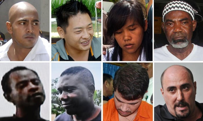 Top row from left: Australians Myuran Sukumaran and Andrew Chan, Filipina Mary Jane Veloso and Nigerian Martin Anderson. Bottom row from left: Nigerians Raheem Agbaje Salami, Silvester Obiekwe Nwolise, Brazilian Rodrigo Gularte, and Frenchman Serge Atlaoui, who has been given a temporary reprieve.