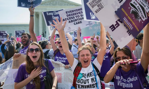 Pro-choice supporters's emotional celebrations outside the supreme court after the ruling on 27 June 2016. Photograph: Michael Reynolds/EPA