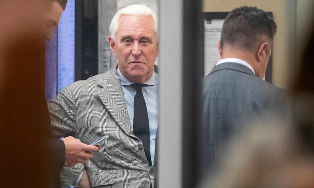 Roger Stone at the federal district court in Washington DC on Thursday. Photograph: Erik S Lesser/EPA