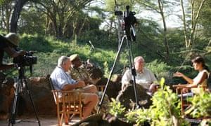 Smriti Vidyarthi (right), host of NTV Wild, hosts a discussion with panellists Mark Deeble, Robert Obrein and Richard Leakey, filmed at Mzima Springs, Tsavo West National Park, Kenya
