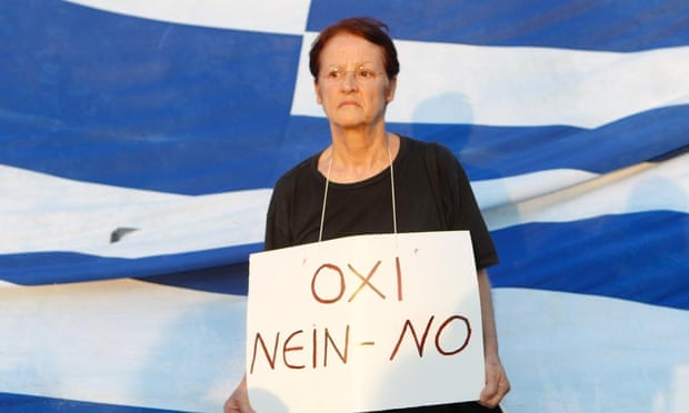 A woman at an anti-austerity rally in Athens makes her feelings felt