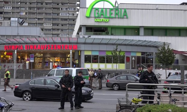 Police guard the Olympic Park shopping centre after the attack. Photograph: Imago / Barcroft Images