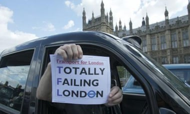 Black cab drivers in London protest
