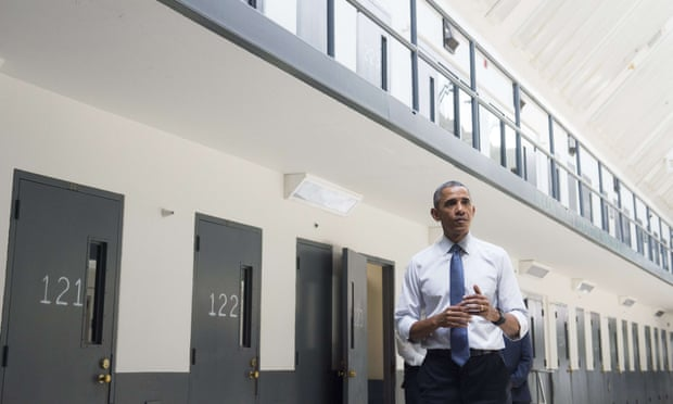 As part of his reform drive, Barack Obama became the first sitting US president to visit a federal prison. Photograph: Saul Loeb/AFP/Getty Images