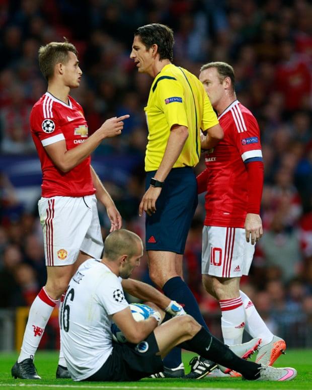Manchester United's Adnan Januzaj remonstrates with referee Deniz Aytekin.