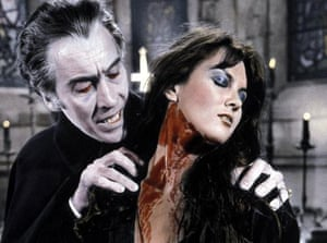Christopher Lee and Caroline Munro in Dracula A.D. 1972