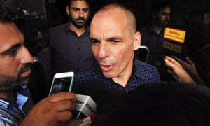 Yanis Varoufakis mobbed by journalists on the day he resigned as finance minister of Greece.