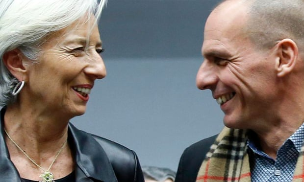 The IMF's director Christine Lagarde, greets the Greek finance minister, Yanis Varoufakis