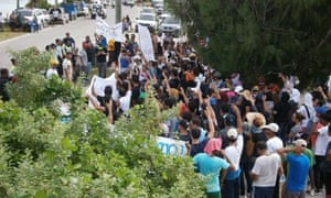Refugees on Nauru protesting in early March over conditions and the Cambodia deal.