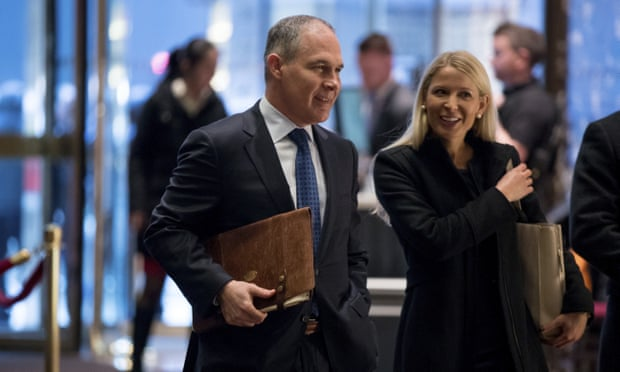Oklahoma attorney general Scott Pruitt at Trump Tower in New York on Wednesday. Photograph: Andrew Harnik/AP